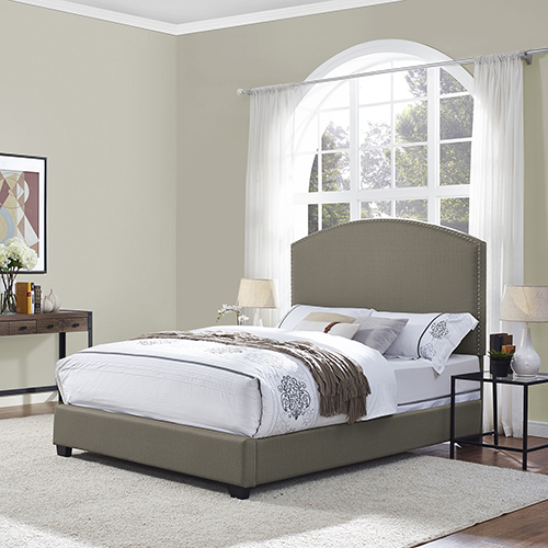 Crosley Furniture Cassie Curved Upholstered King Bedset in Shadow Gray Linen