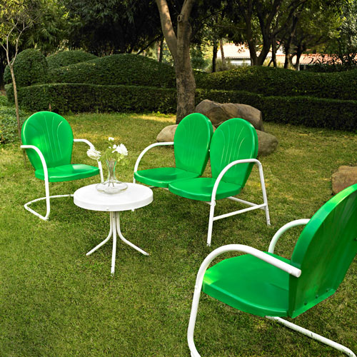Griffith Four Piece Metal Outdoor Conversation Seating Set: Loveseat and Two Chairs in Grasshopper Green Finish with Side