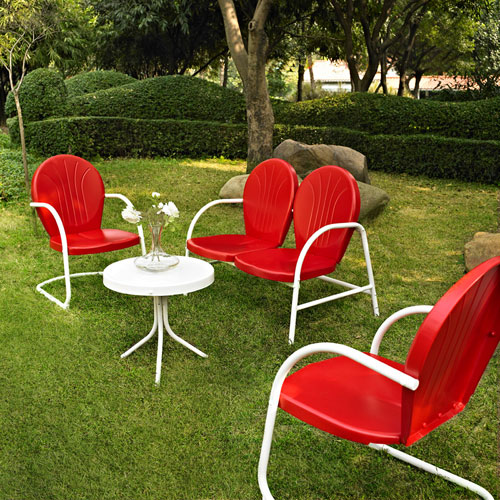 Griffith Four Piece Metal Outdoor Conversation Seating Set: Loveseat and Two Chairs in Red Finish with Side Table in White