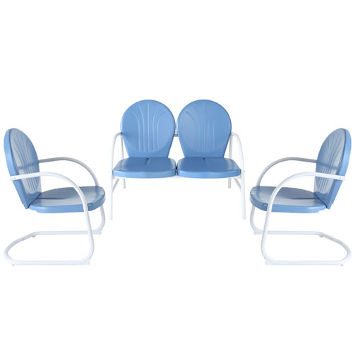 Griffith Three Piece Metal Outdoor Conversation Seating Set: Loveseat and Two Chairs in Sky Blue Finish
