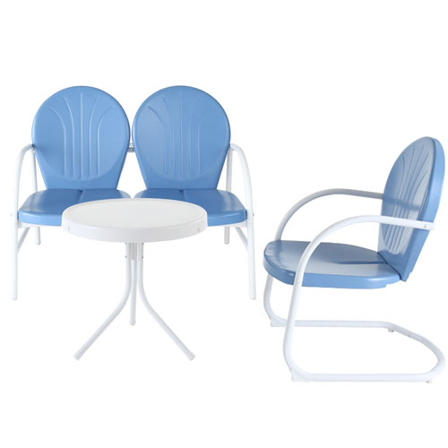 Griffith Three Piece Metal Outdoor Conversation Seating Set: Loveseat and Chair in Sky Blue Finish with Side Table in White