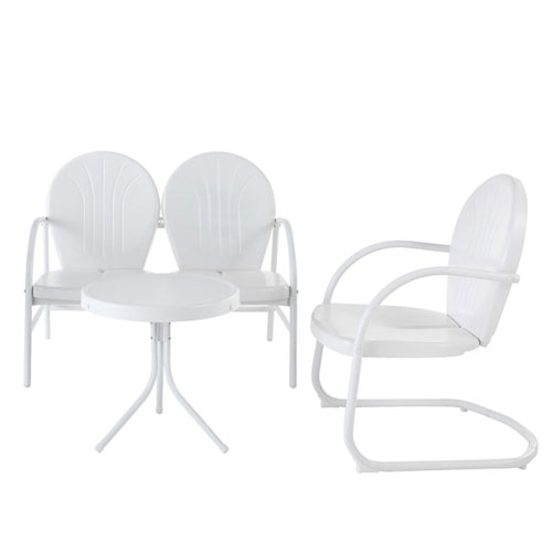Griffith Three Piece Metal Outdoor Conversation Seating Set: Loveseat and Chair in White Finish with Side Table in White
