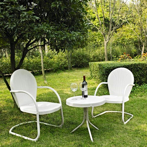 Griffith Three Piece Metal Outdoor Conversation Seating Set: Two Chairs in White Finish with Side Table in White Finish