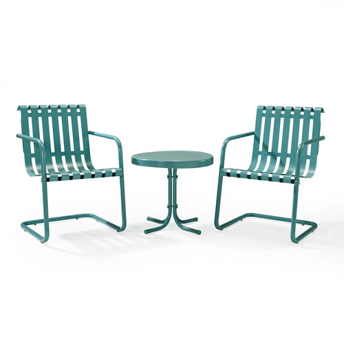 Gracie Caribbean Blue Three Piece Metal Outdoor Conversation Seating Set