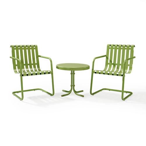 Gracie Oasis Green Three Piece Metal Outdoor Conversation Seating Set