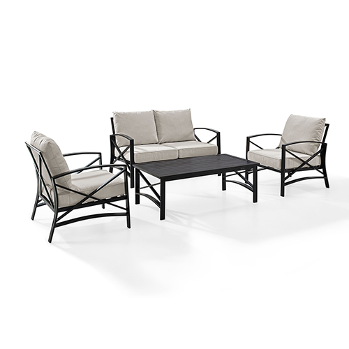 Kaplan 4 Piece Outdoor Seating Set With Oatmeal Cushion - Loveseat, Two Chairs, Coffee Table