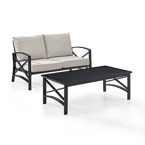 Kaplan 2 Piece Outdoor Seating Set With Oatmeal Cushion - Loveseat, Coffee Table