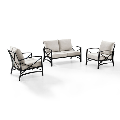 Kaplan 3 Piece Outdoor Seating Set With Oatmeal Cushion - Loveseat, Two Outdoor Chairs