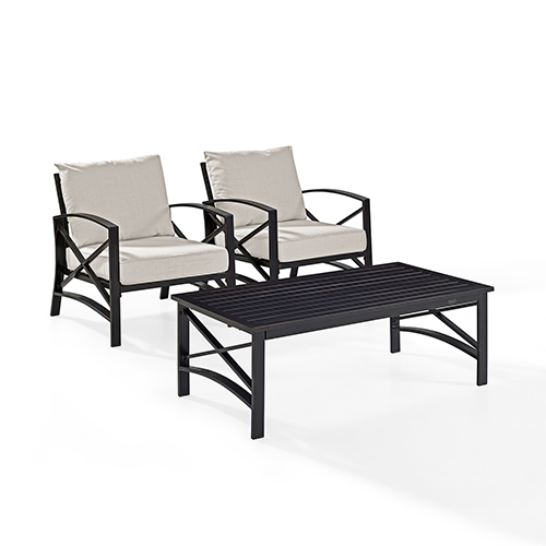 Kaplan 3 Piece Outdoor Seating Set With Oatmeal Cushion - Two Outdoor Chairs, Coffee Table