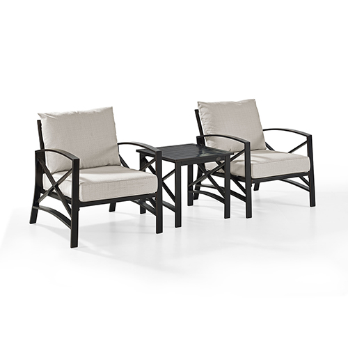 Kaplan 3 Piece Outdoor Seating Set With Oatmeal Cushion - Two Chairs, Side Table