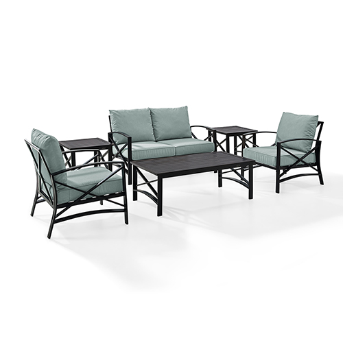 Crosley Furniture Kaplan 6 Piece Outdoor Seating Set With Mist Cushion - Loveseat, Two Chairs, Two Side Tables, Coffee Table
