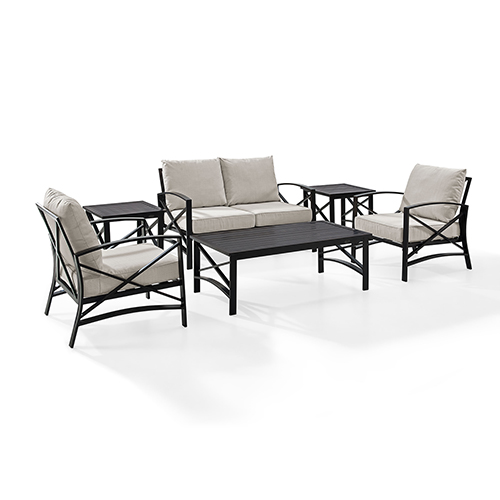 Crosley Furniture Kaplan 6 Piece Outdoor Seating Set With Oatmeal Cushion - Loveseat, Two Chairs, Two Side Tables, Coffee