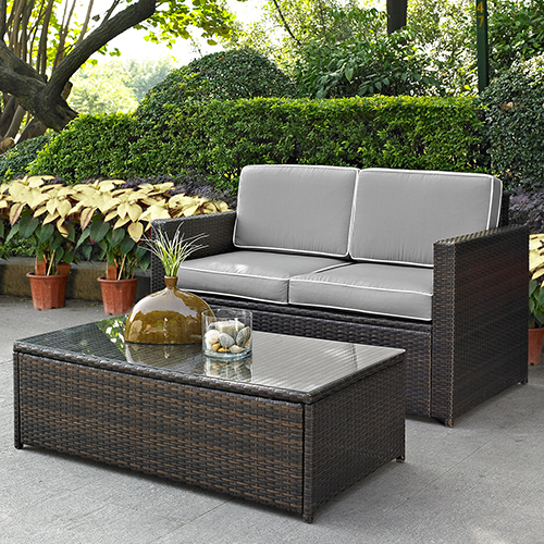 Palm Harbor 2 Piece Outdoor Wicker Seating Set With Grey Cushions- Loveseat and Glass Top Table