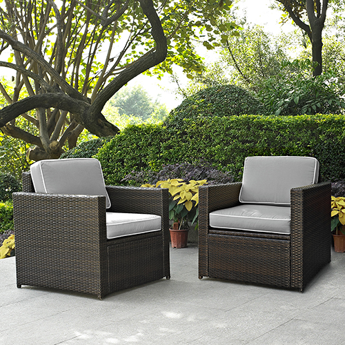 Crosley Furniture Palm Harbor 2 Piece Outdoor Wicker Seating Set With Grey Cushions -  Two Outdoor Wicker Chairs