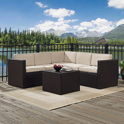 Palm Harbor 6 Piece Outdoor Wicker Seating Set With Sand Cushions - Three Corner Chairs, Two Center Chairs and Coffee