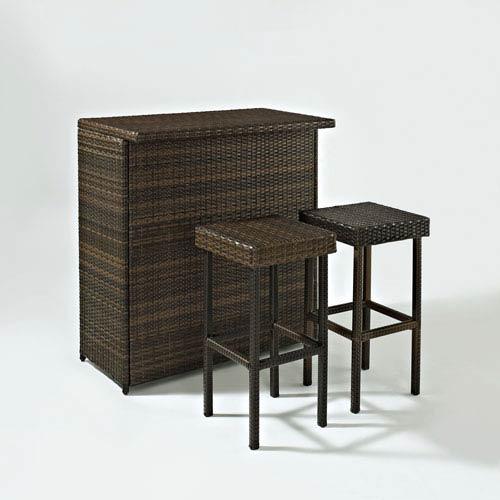 Crosley Furniture Palm Harbor Three Piece Outdoor Wicker Bar Set