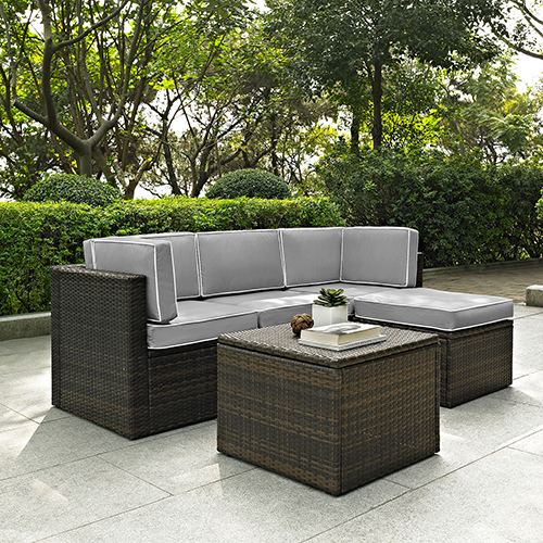Palm Harbor 5 Piece Outdoor Wicker Seating Set With Grey Cushions - Two Corner Chairs,  Center Chair,  Ottoman and Coffee