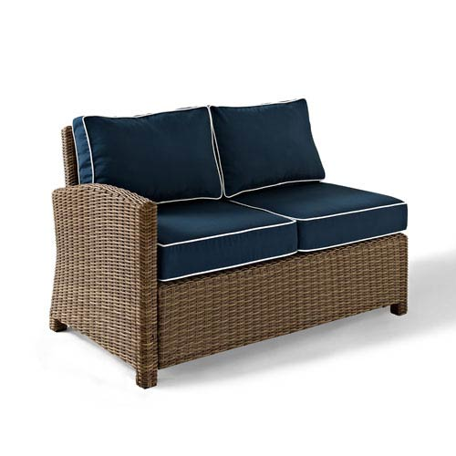 Bradenton Outdoor Wicker Sectional Left Corner Loveseat with Navy Cushions