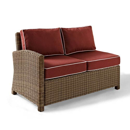 Bradenton Outdoor Wicker Sectional Left Corner Loveseat with Sangria Cushions