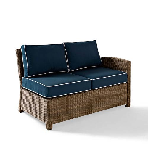 Bradenton Outdoor Wicker Sectional Right Corner Loveseat with Navy Cushions