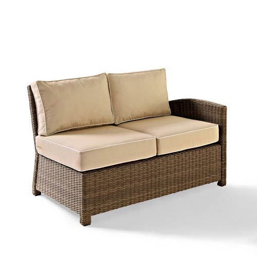 Bradenton Outdoor Wicker Sectional Right Corner Loveseat with Sand Cushions