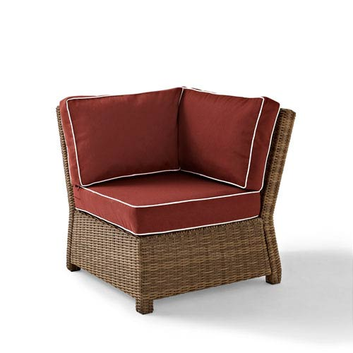 Bradenton Outdoor Wicker Sectional Corner Chair with Sangria Cushions