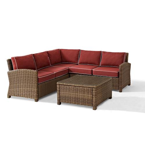 Bradenton 4-Piece Outdoor Wicker Seating Set with Sangria Cushions -  Corner Loveseat,  Corner Loveseat, Corner Chair,