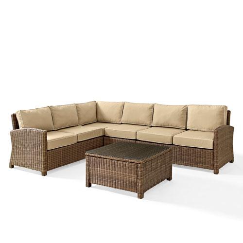 Bradenton 5-Piece Outdoor Wicker Seating Set with Sand Cushions -  Corner Loveseat,  Corner Loveseat, Corner Chair, Center