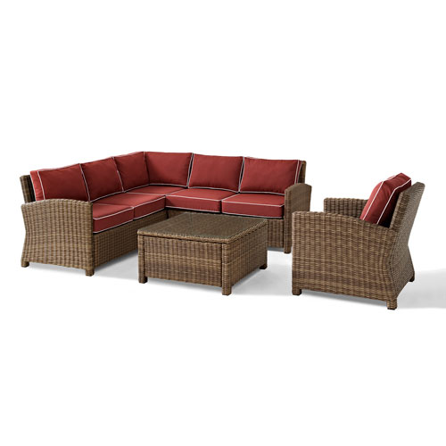 Bradenton 5-Piece Outdoor Wicker Seating Set with Sangria Cushions - Right Corner Loveseat, Left Corner Loveseat, Corner
