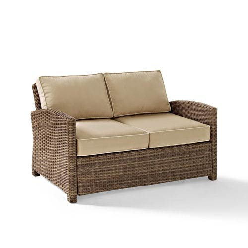 Bradenton Outdoor Wicker Loveseat with Sand Cushions