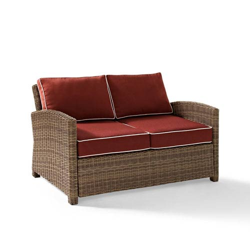 Bradenton Outdoor Wicker Loveseat with Sangria Cushions