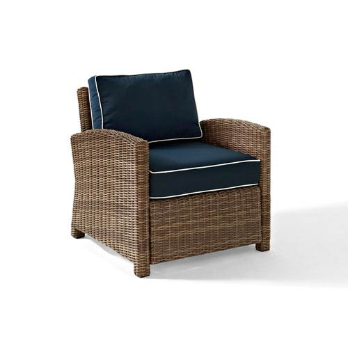 Crosley Furniture Bradenton Outdoor Wicker Arm Chair With Navy Cushions