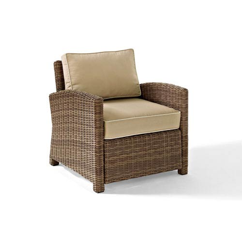 Bradenton Outdoor Wicker Arm Chair with Sand Cushions