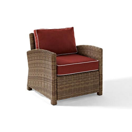 Bradenton Outdoor Wicker Arm Chair with Sangria Cushions