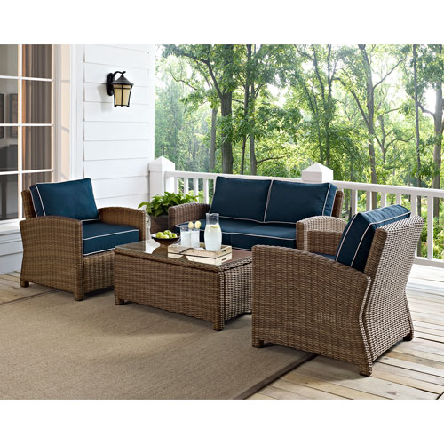 Bradenton 4 Piece Outdoor Wicker Seating Set with Navy Cushions