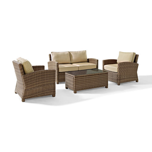 Crosley Furniture Bradenton 4 Piece Outdoor Wicker Seating Set with Sand Cushions