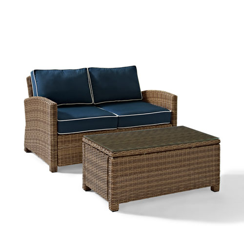 Bradenton 2 Piece Outdoor Wicker Seating Set with Navy Cushions