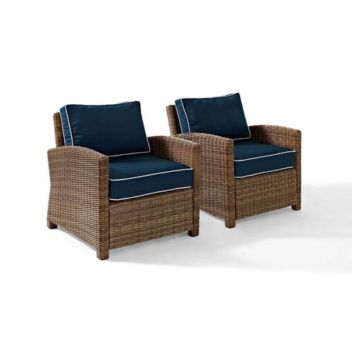 Bradenton 2 Piece Outdoor Wicker Seating Set with Navy Cushions - Two Arm Chairs