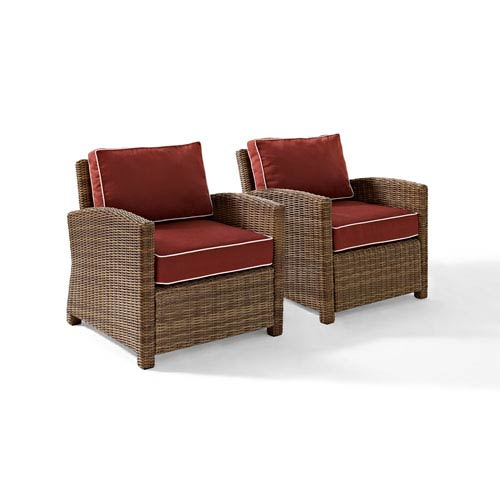 Bradenton 2 Piece Outdoor Wicker Seating Set with Sangria Cushions - Two Arm Chairs