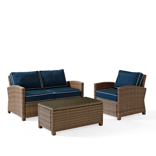 Bradenton 3 Piece Outdoor Wicker Seating Set with Navy Cushions