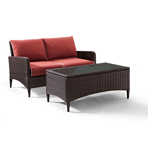 Crosley Furniture Kiawah 2 Piece Outdoor Wicker Seating Set with Sangria Cushions