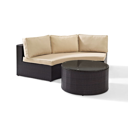 Crosley Furniture Catalina 2 Piece Outdoor Wicker Seating Set with Sand Cushions - Round Sectional Sofa with Round Glass Top