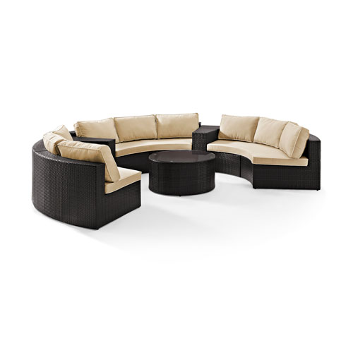 Catalina 6 Piece Outdoor Wicker Seating Set with Sand Cushions - Three Round Sectional Sofas, Two Arm Tables, and Round Glass
