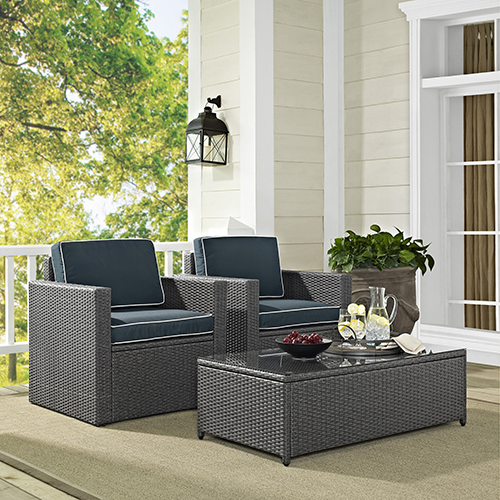 Crosley Furniture Palm Harbor 3 Piece Outdoor Wicker Seating Set in Grey Wicker With Navy Cushions: Coffee Table, And 2 Arm