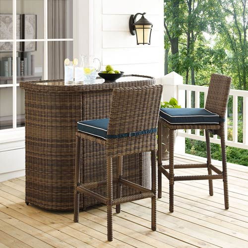 Bradenton Navy 3 Piece Outdoor Wicker Bar Set with Cushions