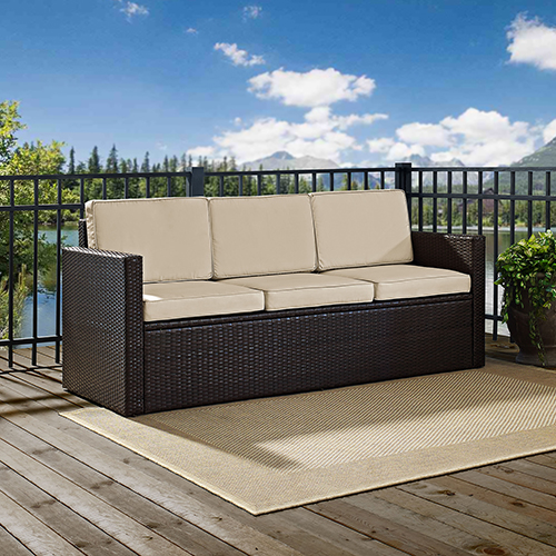 Palm Harbor Outdoor Wicker Sofa in Brown With Sand Cushions