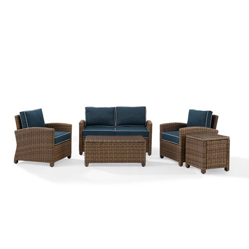 Bradenton Navy 5-Piece Outdoor Wicker Conversation Set with Cushions
