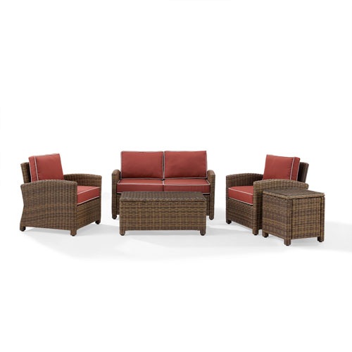 Bradenton Sangria 5-Piece Outdoor Wicker Conversation Set with Cushions