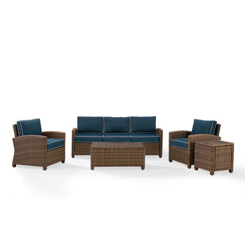 Crosley Furniture Bradenton Navy 5 Piece Outdoor Wicker Sofa Conversation Set With Cushions