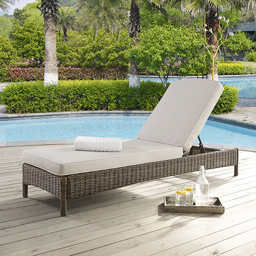 Crosley Furniture Bradenton Chaise Lounge With Sand Cushions